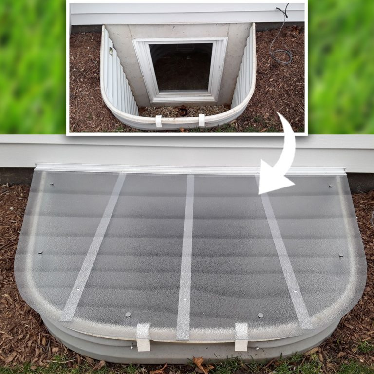 before and after picture of window well with custom window well cover