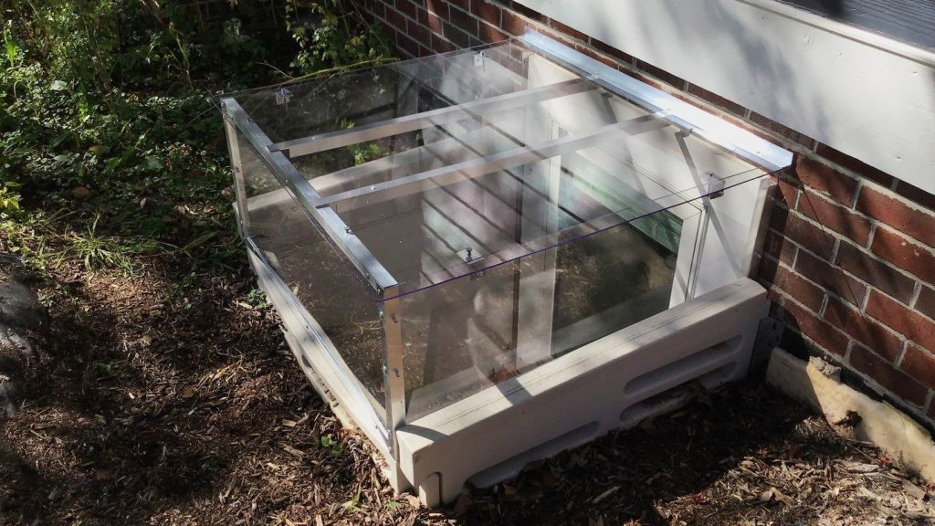 window well cover with box riser on plastic well