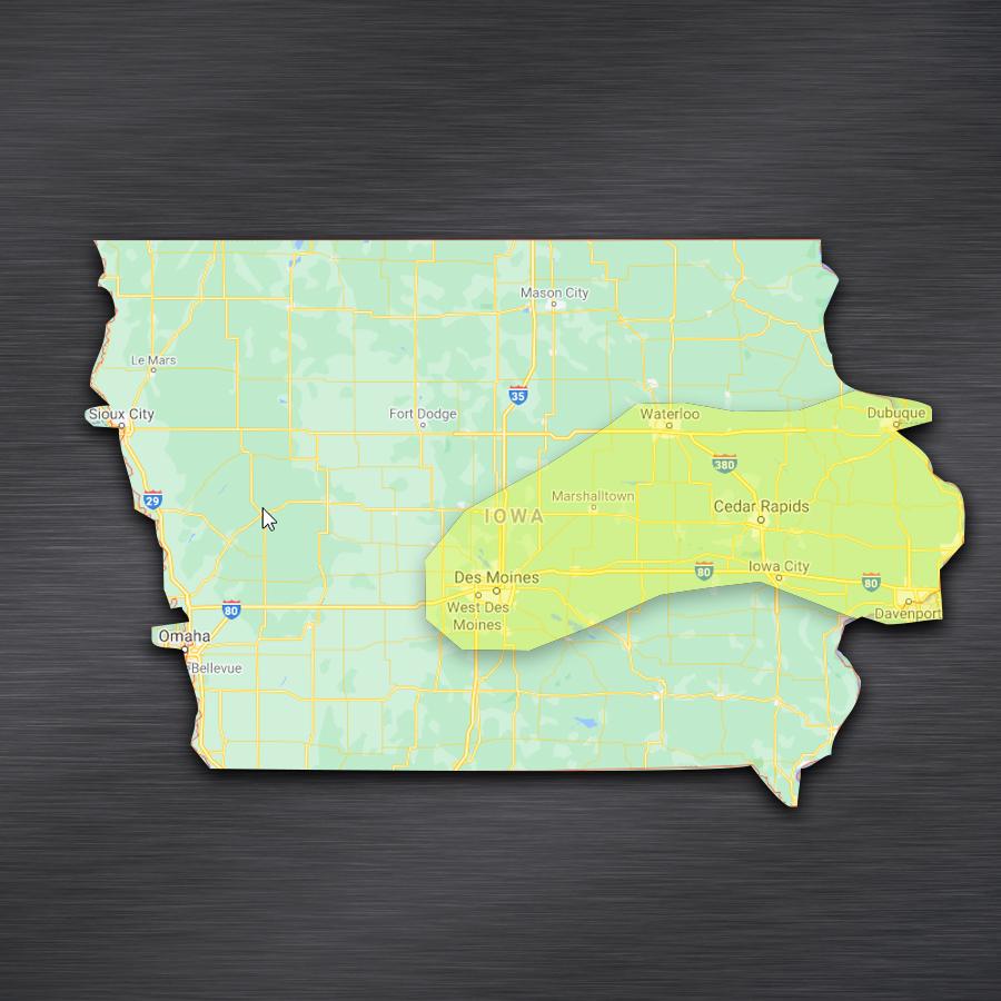 map showing WellExpert's Iowa serve area