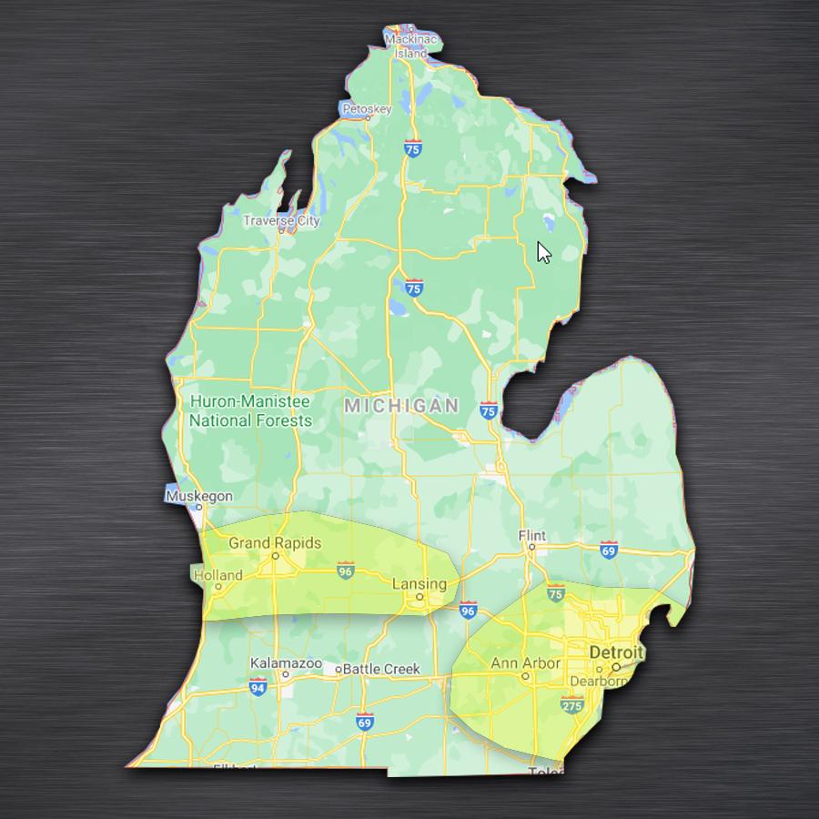 map showing WellExpert's Michigan serve area