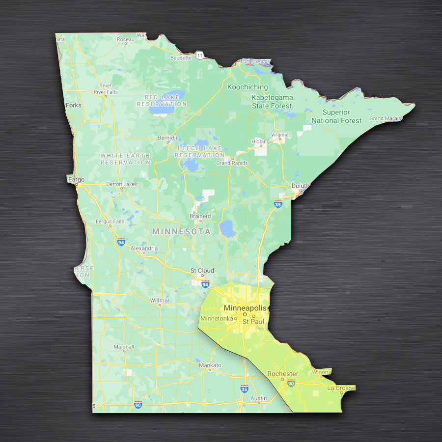 map showing WellExpert's Minnesota serve area