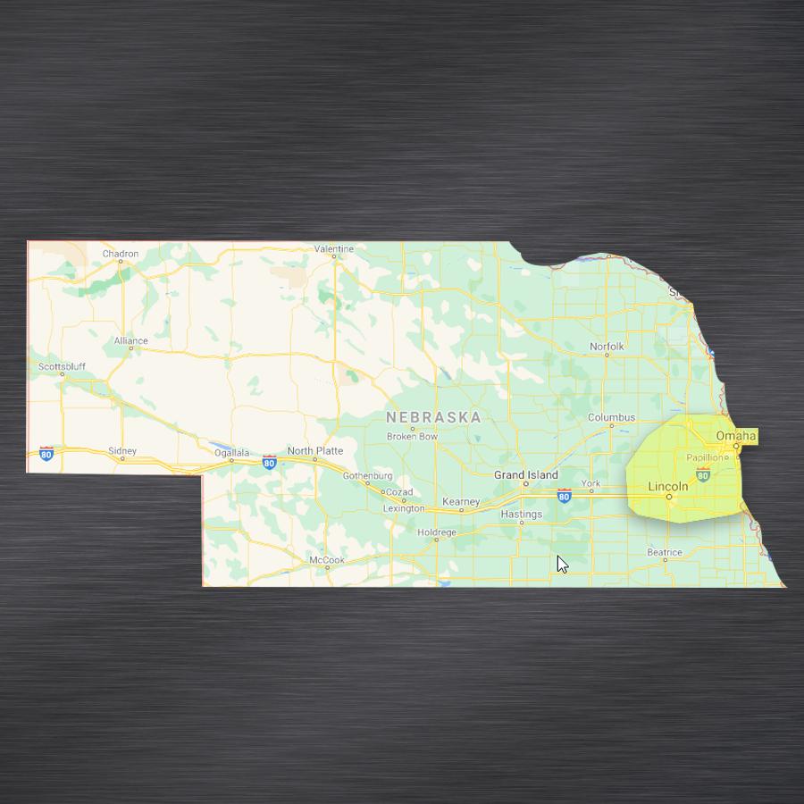 map showing WellExpert's Nebraska serve area