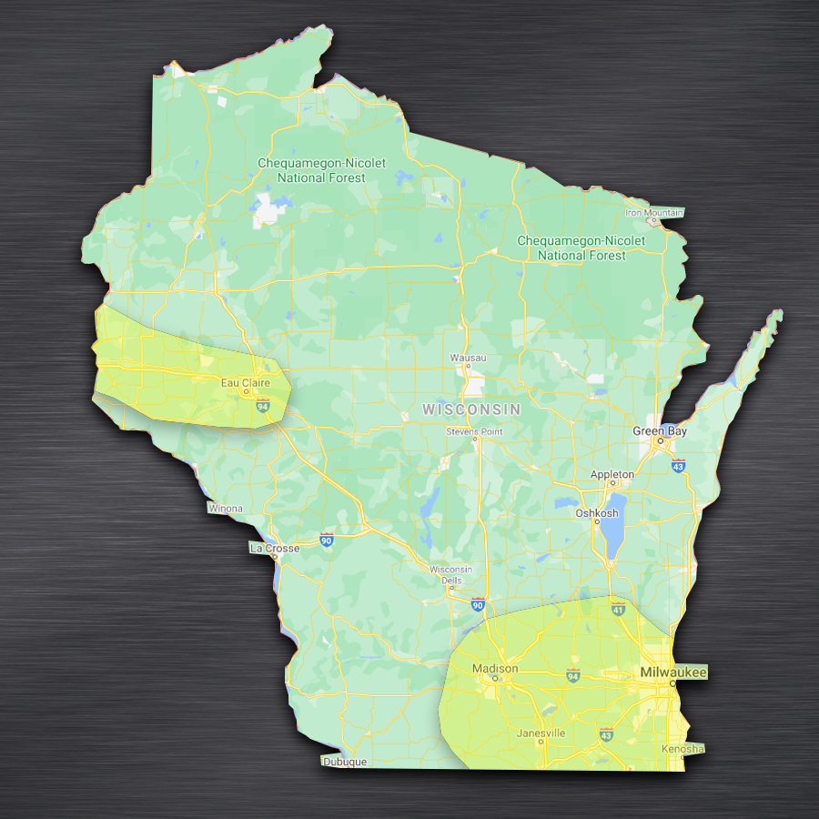map showing WellExpert's Wisconsin serve area